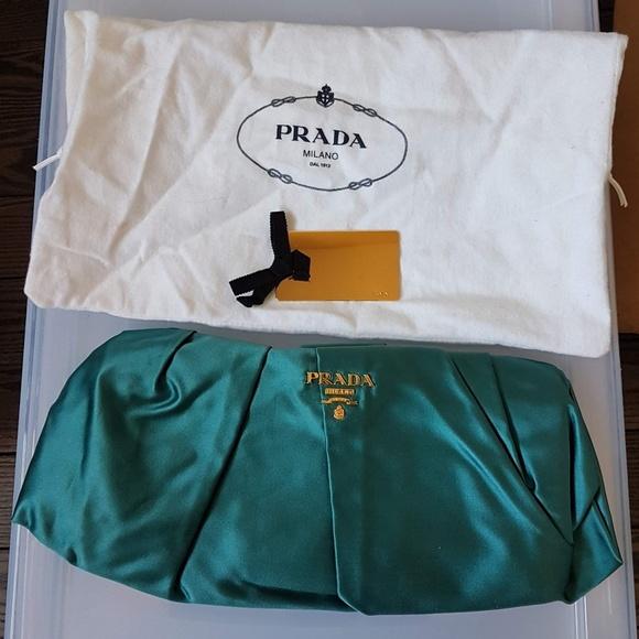 Prada Handbags - Prada raso satin clutch in teal